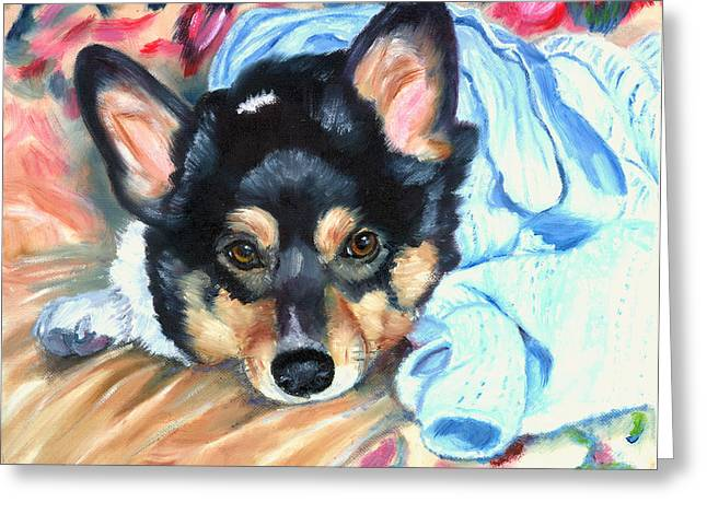 K9 Greeting Cards - Snuggled - Pembroke Welsh Corgi Greeting Card by Lyn Cook