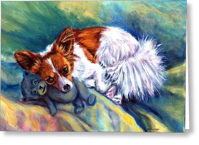 Papillon Dog Greeting Cards - Snuggles - Papillon Dog Greeting Card by Lyn Cook