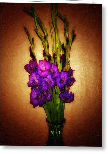 Purple Gladiolas Greeting Cards - So Glad Greeting Card by Keren  Candiotti