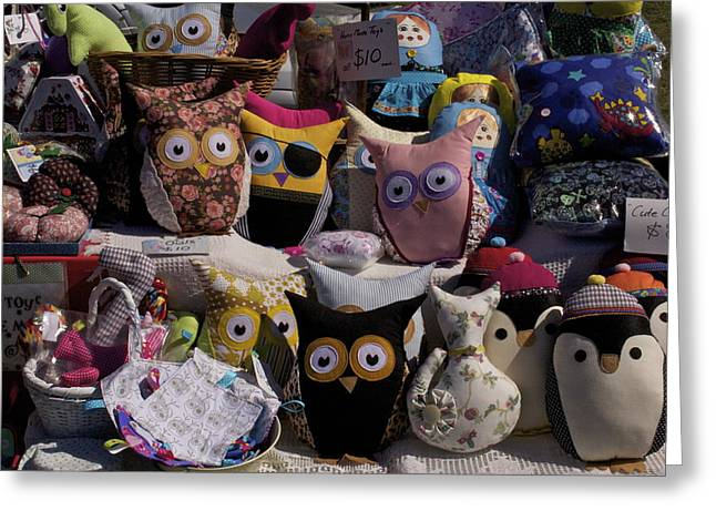 Cushion Tapestries - Textiles Greeting Cards - So Many Eyes Looking Greeting Card by Michael Clarke JP