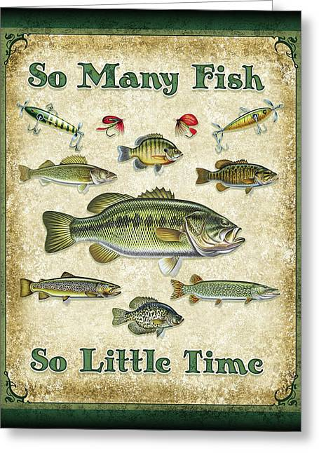 Trout Fishing Paintings Greeting Cards - So Many Fish Sign Greeting Card by JQ Licensing