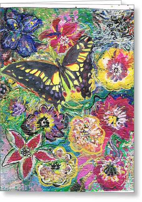 Gathering Mixed Media Greeting Cards - So Many Flowers So Little Time Greeting Card by Anne-Elizabeth Whiteway