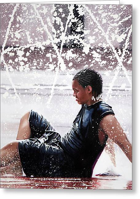 African-american Paintings Greeting Cards - Soaked Greeting Card by Denny Bond