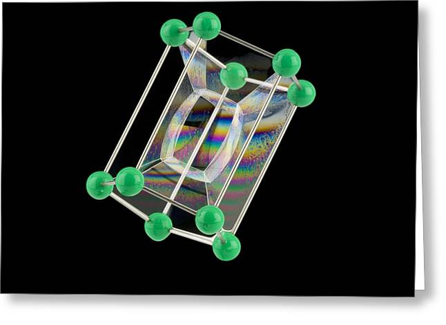 Pentagonal Greeting Cards - Soap Bubbles On A Pentagonal Prism Frame Greeting Card by Paul Rapson