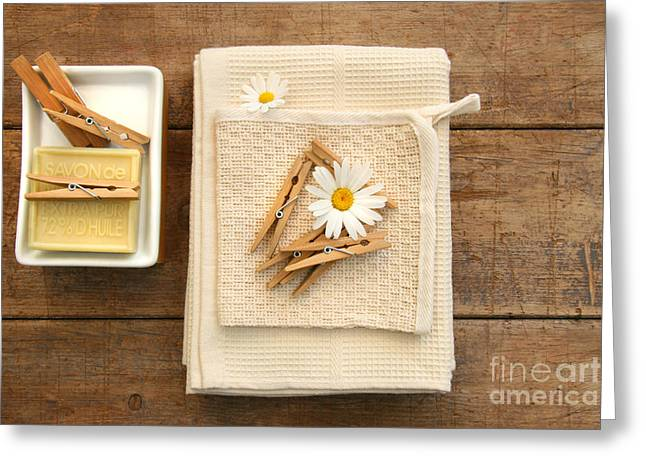 Clips Greeting Cards - Soap clothespins and towels  Greeting Card by Sandra Cunningham