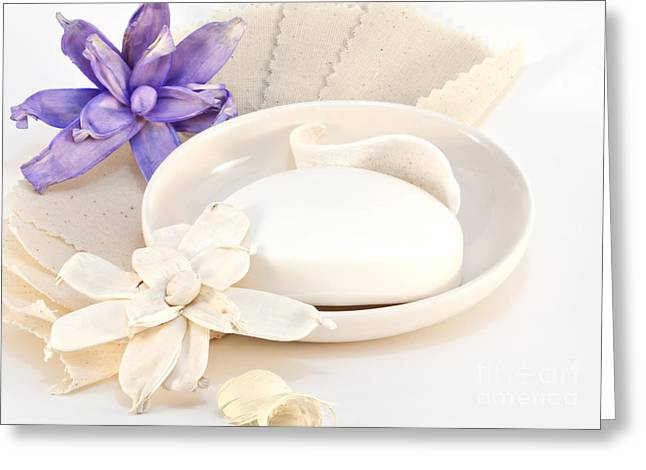 Soap With Flowers Greeting Card by Blink Images