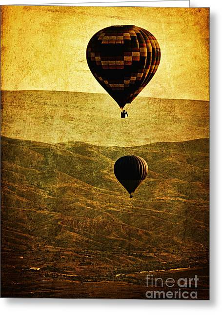 """hot Air Balloon"" Greeting Cards - Soaring Heights Greeting Card by Andrew Paranavitana"