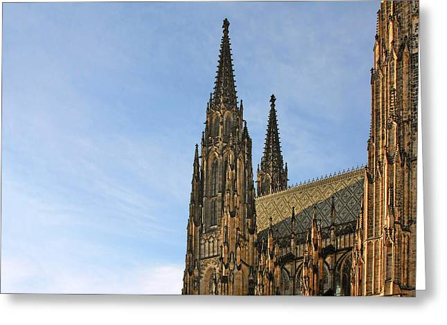 Cathedral Greeting Cards - Soaring spires Saint Vitus Cathedral Prague Greeting Card by Christine Till