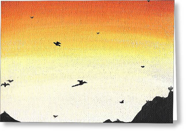 Soaring Paintings Greeting Cards - Soaring Sunset 2 Greeting Card by Jera Sky