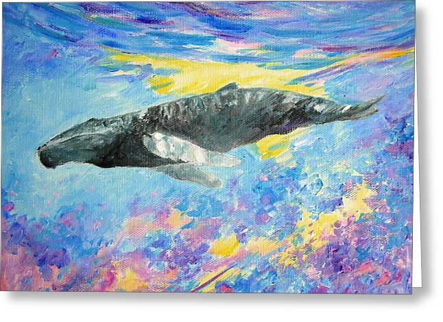 Liberation Greeting Cards - Soaring whale Greeting Card by Tamara Tavernier