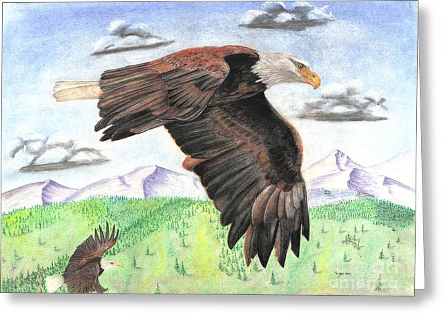 Eagles Pastels Greeting Cards - Soaring With Eagles Greeting Card by Russ  Smith