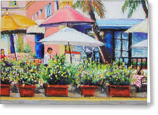 Miami Pastels Greeting Cards - SoBe Cafe Greeting Card by Leah Wiedemer
