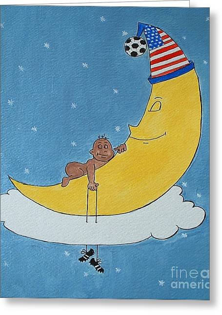 American Soccer Prints Greeting Cards - Soccer Baby Sleeping Greeting Card by Claudiu Radulescu