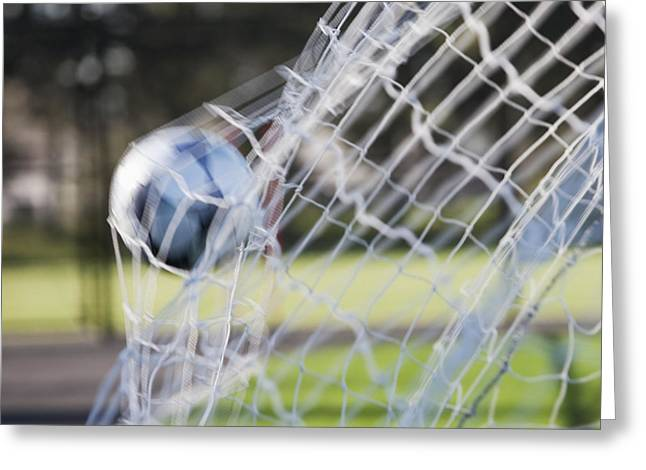 Soccer Ball In Goal Netting Greeting Card by Jetta Productions, Inc