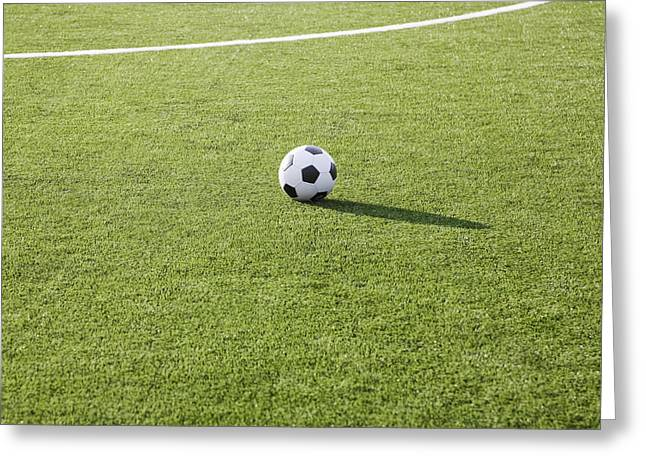 Casting A Shadow Greeting Cards - Soccer Ball on Soccer Field Greeting Card by Jetta Productions, Inc