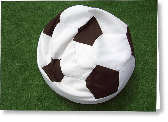 Idling Greeting Cards - Soccer ball seat cushion Greeting Card by Matthias Hauser