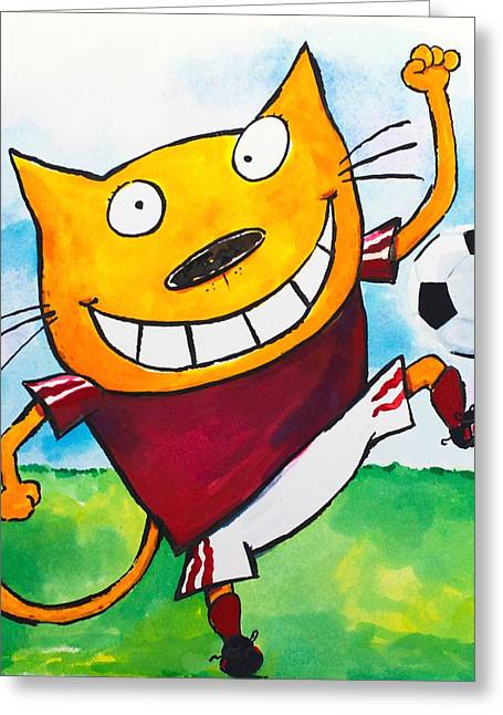Scott Nelson Paintings Greeting Cards - Soccer Cat 2 Greeting Card by Scott Nelson