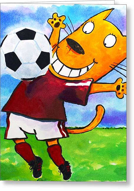 Scott Nelson Paintings Greeting Cards - Soccer Cat 3 Greeting Card by Scott Nelson