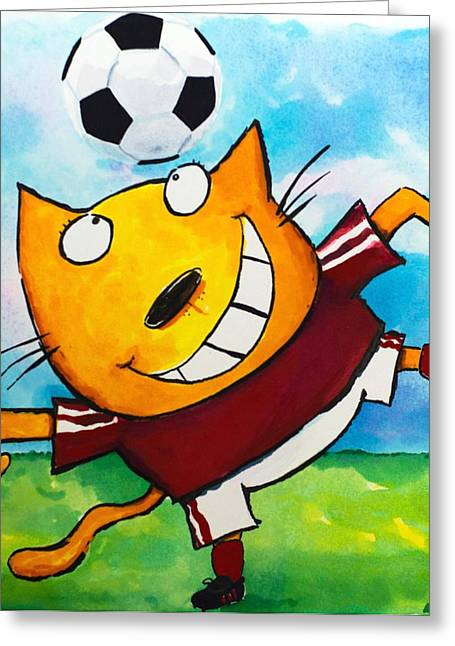 Bicycle Kick Greeting Cards - Soccer Cat 4 Greeting Card by Scott Nelson