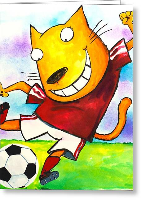 Scott Nelson Paintings Greeting Cards - Soccer Cat Greeting Card by Scott Nelson