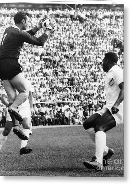 Goalkeeper Greeting Cards - Soccer Match, 1966 Greeting Card by Granger