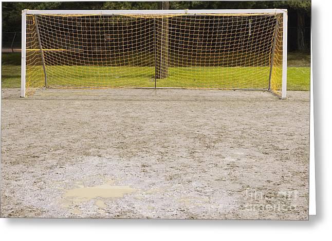 Soccer Net On Dirt Field Greeting Card by Andersen Ross