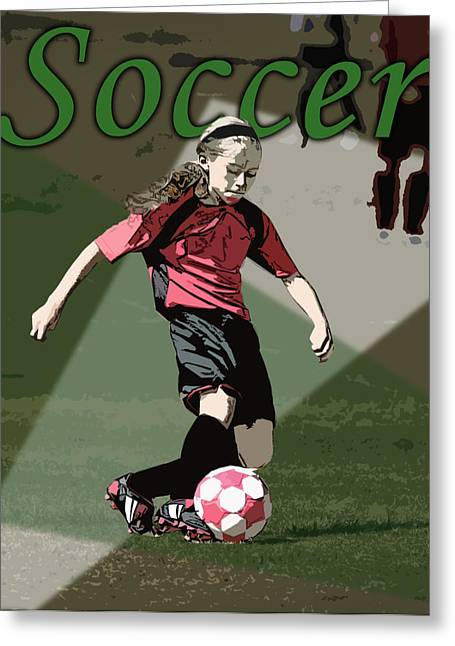 Girls Soccer Art Greeting Cards - Soccer Style Greeting Card by Kelley King
