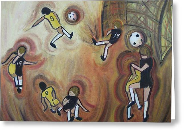 Suzanne Marie Leclair Paintings Greeting Cards - Soccer Greeting Card by Suzanne  Marie Leclair