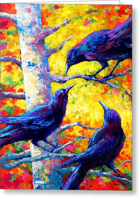 Ravens Greeting Cards - Social Cub I Greeting Card by Marion Rose