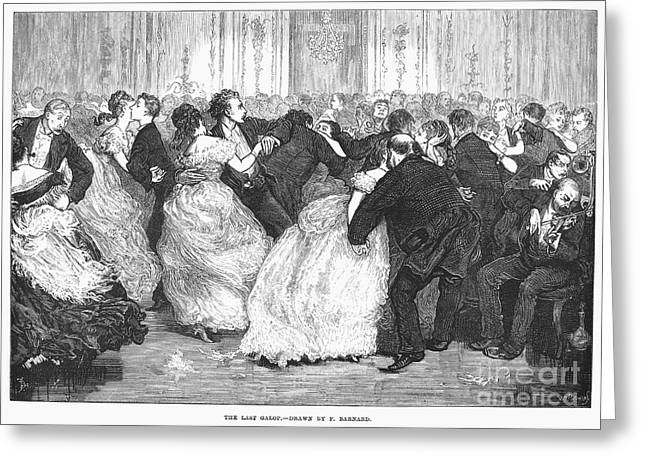 Galop Greeting Cards - Social Dancing, 1873 Greeting Card by Granger