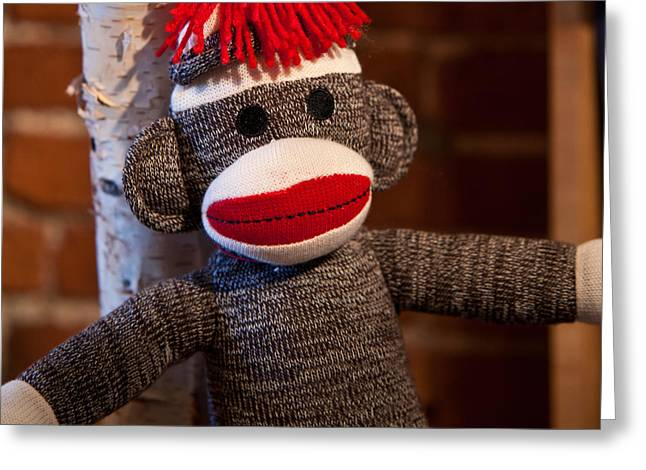 Child Toy Greeting Cards - Sock Monkey Greeting Card by Edward Myers
