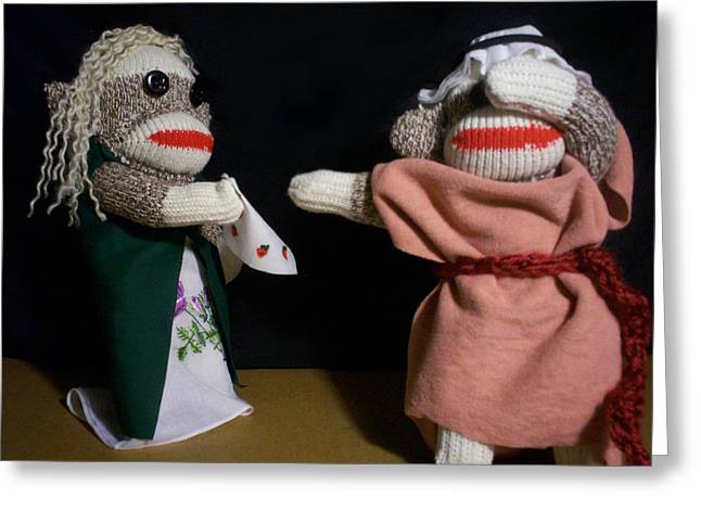 Sock Monkey Othello Greeting Card by David Jones
