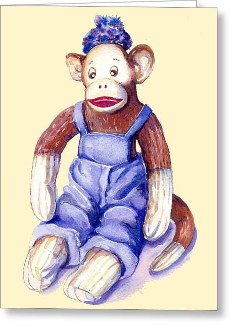 Sock Monkey Greeting Card by Peggy Wilson