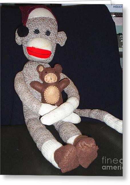 Jordan Wall Art Greeting Cards - Sock Monkey With His Teddy Greeting Card by Jeannie Atwater Jordan Allen