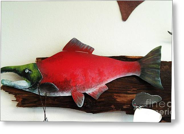 Salmon Sculptures Greeting Cards - Sockeye Salmon  Greeting Card by Erik Johnson