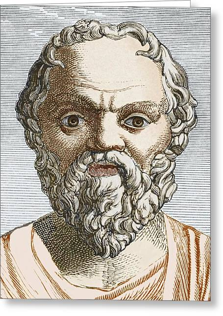 Orator Greeting Cards - Socrates, Ancient Greek Philosopher Greeting Card by Sheila Terry