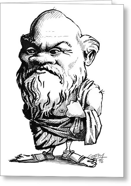 Orator Greeting Cards - Socrates, Caricature Greeting Card by Gary Brown