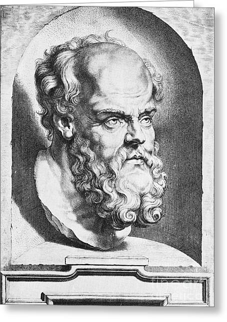 I Know Greeting Cards - Socrates, Greek-athenian Philosopher Greeting Card by Science Source
