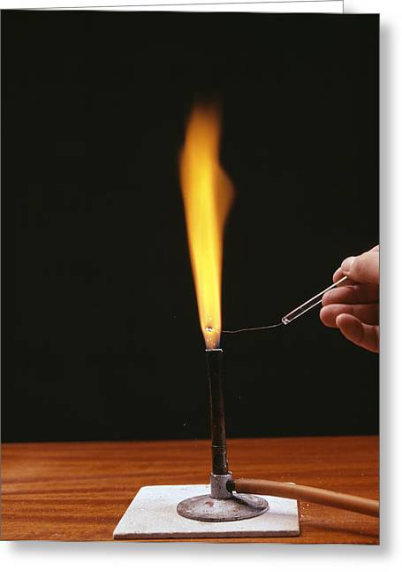 Flame Test Greeting Cards - Sodium Flame Test Greeting Card by Andrew Lambert Photography