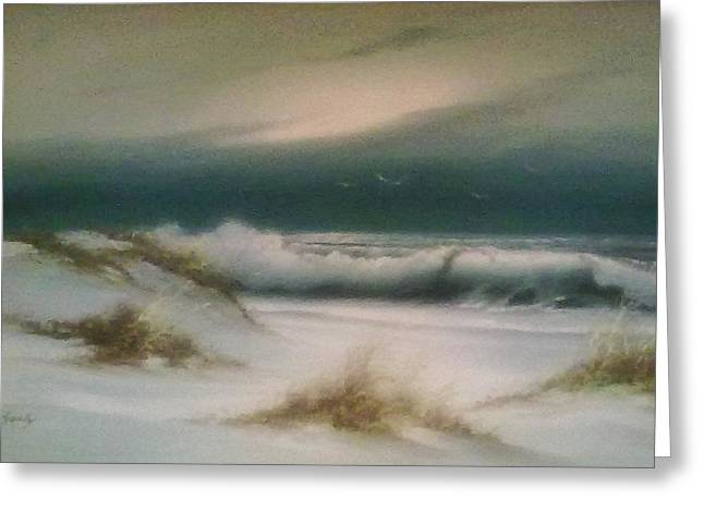 Foggy Beach Paintings Greeting Cards - Soft Beach Greeting Card by Unique Consignment