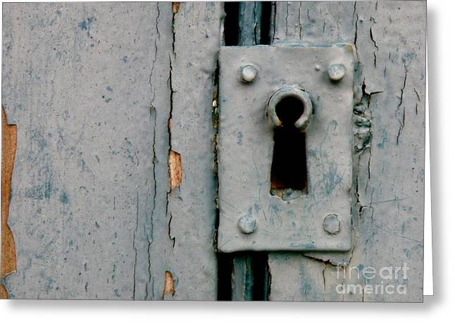 Soft Blue Door And Lock Greeting Card by Lainie Wrightson