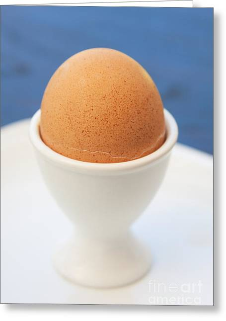 Egg-cup Greeting Cards - Soft-boiled Egg  Greeting Card by Atiketta Sangasaeng