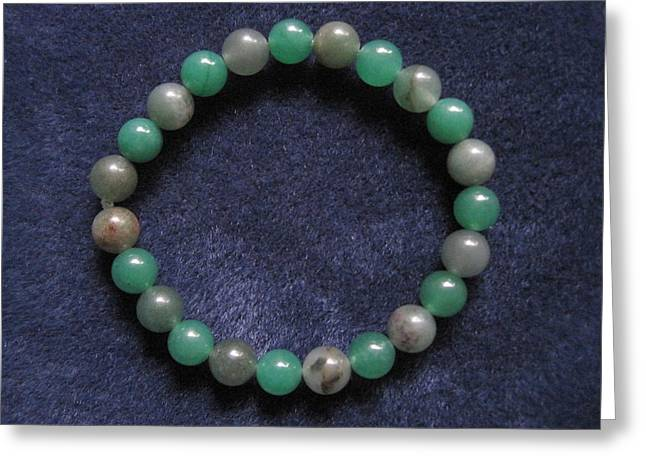 Stretchy Greeting Cards - Soft Green Stripes Bracelet Greeting Card by Susan Mountainspring
