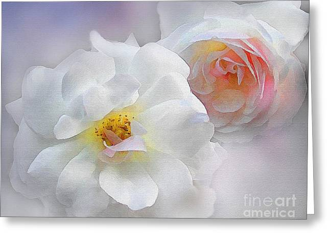Pink Blossoms Digital Art Greeting Cards - Soft Roses Greeting Card by Robert Foster