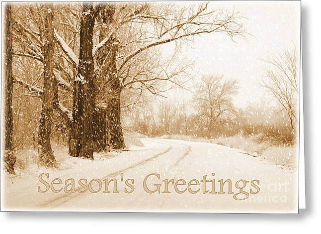 All Occasion Card  Greeting Cards - Soft Sepia Seasons Greetings Card Greeting Card by Carol Groenen
