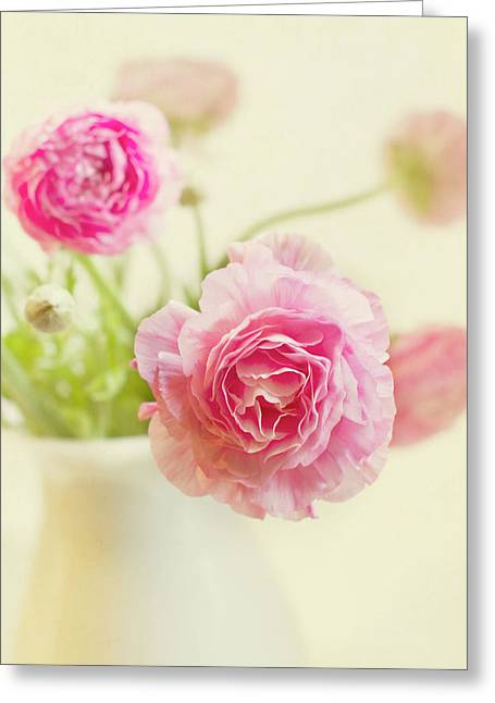 Pink Flowers Greeting Cards - Softly Greeting Card by Rebecca Cozart