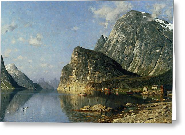 Scandinavia Greeting Cards - Sogne Fjord Norway  Greeting Card by Adelsteen Normann