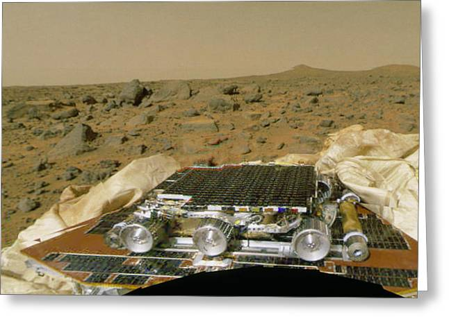 Pathfinder Greeting Cards - Sojourner Before Leaving The Mars Pathfinder Greeting Card by Nasa