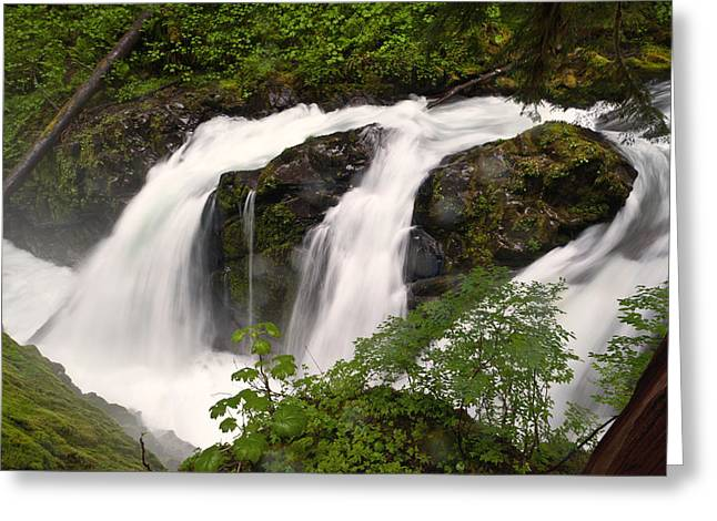 Sol Greeting Cards - Sol Duc Falls Greeting Card by Alvin Kroon