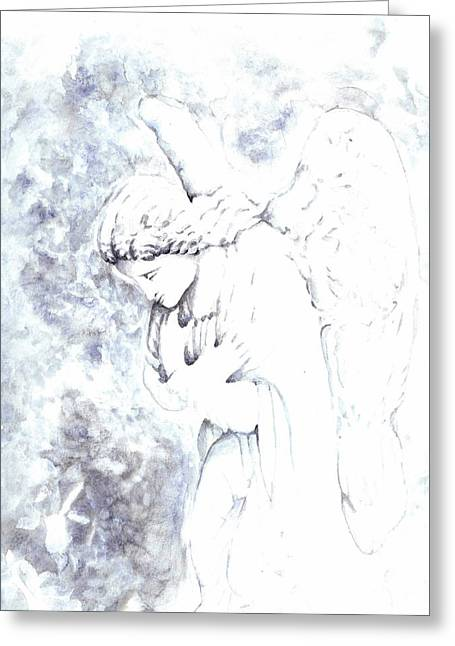 Statue Portrait Paintings Greeting Cards - Solace Angel Greeting Card by Lisa Buchanan